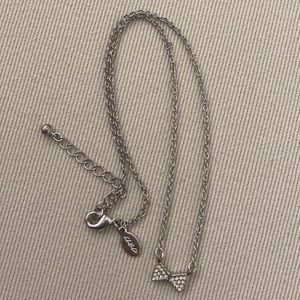 Silver Sparkle Bow Necklace